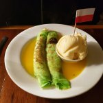 Crepe Suezzette with Cointreau sauce and vanilla ice cream. Yum :)