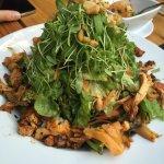 Gezupfte Blattsalate der Saison mit gebratenen Pfifferlingen und Zwiebele, dazu Kresse, Weizencr