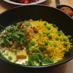 sri lankan sweet potato and green bean curry with roasted lime cashews, pea basmati rice and coc