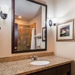 Stylish Standard Guest Bathroom with granite counters