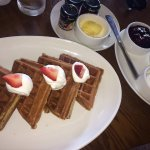 Belgian waffle with fake whipped cream had me feeling like IHOP