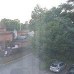 Carpark, Pub next door and Main Road (between the trees)