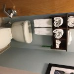 Clean towels stored directly above the toilet. Gross!