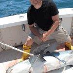 RI offshore shark fishing on Fish Trap.
