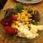 Green salad with beets, macaroni & potato salad