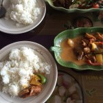 Duck with basil and duck with red curry sauce