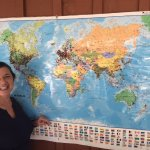 Owner Patty proudly shows her world map dotted with hundreds of customer's locations!