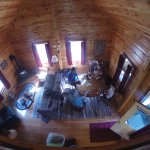 Taken with a GoPro from the master bedroom/loft area. Looking down on the living/dining area