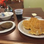 Yummy make your own Texas waffles-good start to a day on the road. Free with the room.