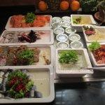 Der Fischteil des Frühstücksbuffetts