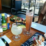 Cartel Margarita, Singapore Sling, octopus fritters, pulled chicken soft tacos