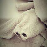 Graue alte Handtücher