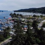 Drone shot just above the roof.  Ganges Harbor and Town.