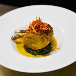 Lamb with spinach potato and coconut sauce