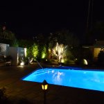 Dramatic lighting around the pool at night