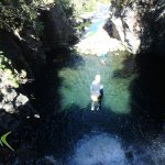 Jumping off a 15 metres rock into the river pool bed below