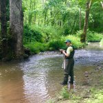 Fly fishing on the property