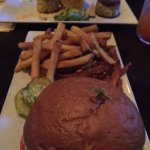 Lamb burger and crab cakes