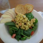 Delicious Curried Chicken Salad on a bed of Fresh Spinach