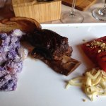 Short ribs with red,white and blue potato salad w/ BBQ watermelon