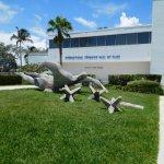 swimmer outside museum