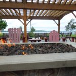 Fire pit on patio, just beyond restaurant seating