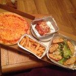 Take-Away! Margarita Pizza, Lasagne, Fries & Garlic Bread.