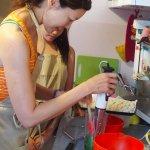 Making pesto.