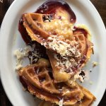 Minnesota classic + malted waffle + miel latte= incredible meal for 2!!