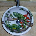 I want this sink! Hand painted ceramic