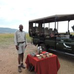Our welcome to Kichwa Tembo. On the airstrip. Our fantastic driver Kima!