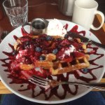 The Belgian Waffle with seasonal berries; Sorry, I started before the picture
