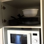 Pans & microwave (there is no traditional oven but well cooking plates)