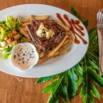Steak Frites w blue vein cheese sauce