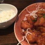 crispy honey chicken with white rice