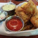 Lobster roll, strawberry daiquiri, fish and chips, chicken Alfredo.
