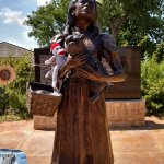 """Statue of Dorothy, Toto & Tourist Friend (""""Somewhere Over the Rainbow"""" plays)"""