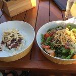 Poke bowl (fantastic ahi) on the left and Hawaiian pesto crusted fish salad