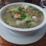 Bowl of wonton soup.