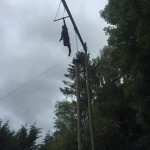 Climb up the pole and jump onto the trapeze. Terrifying.