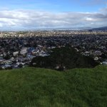 Looking back over Mount Eden and beyond from the top of Maungawhau