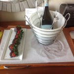 Complimentary chocolate strawberries and Prosecco