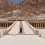 Sister in front of Hatshepsut temple. There might have been ten more people max.