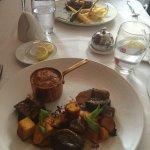 Mini bobotie, lamb loin and butternut + pork belly