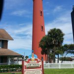 Ponce lighthouse with sign