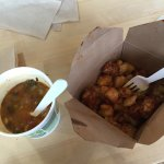Breakfast of champions! Low sodium vegetable soup and potatoes
