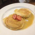 Homemade American pancakes with maple syrup