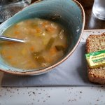 Vegetable soup and bread