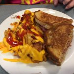 My wife order the melt with chesse fries.