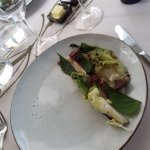 Ilmakuivattua hanhenrintaa, Rekolan salaattia ja kallioimarretta